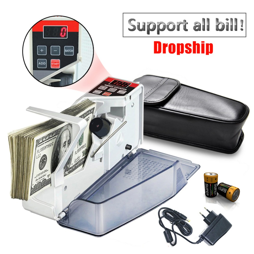 Portable Handy Money Counter for Most Currency Note Bill Cash Mini Counting Machines EU V40 Financial