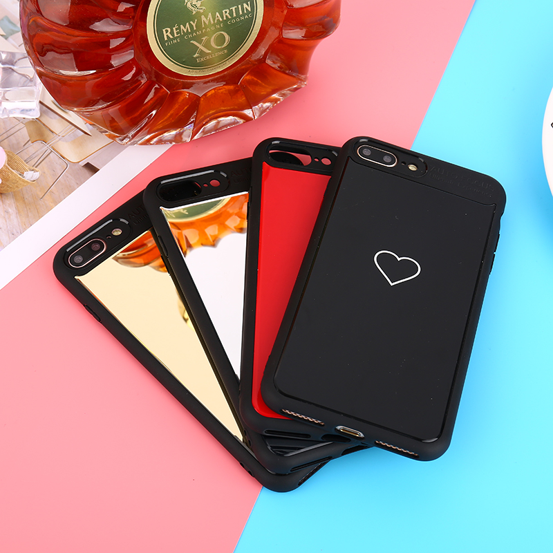 New Fashion Designers Black Mirror Love Heart Case For iPhone 6 6S 7 Plus Case Soft Silicone Cute Couple Cover For iPhone 7 Case