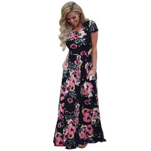 Summer Beach Dress Long Floral Maxi  Vestido Longo Boho Bohemian Ladies Dress Plus Size