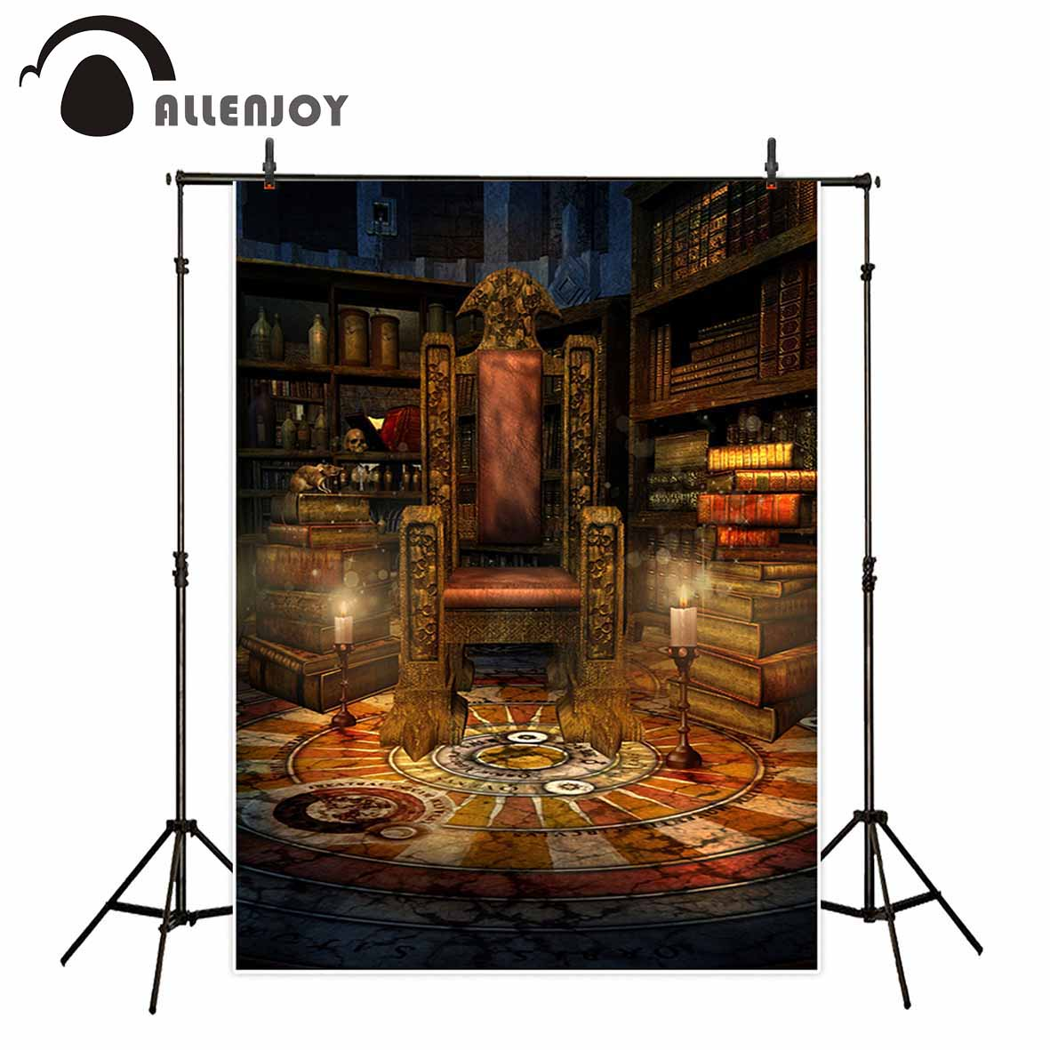 Allenjoy photography backdrop Vintage luxurious throne books candle Halloween background for photo studio camera fotografica