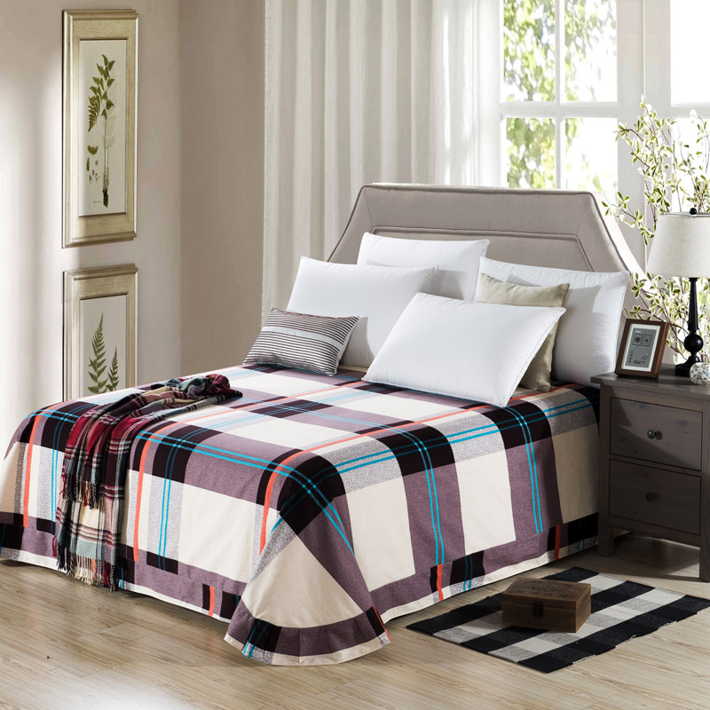 100 cotton bed sheet plaid bedsheet flat sheet classic fillet sheets bedcloth rounded full twin