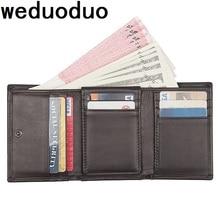 Weduoduo Brand Men Wallet Genuine Leather Casual Credit Card Holder Large Capacity Card Wallet Short Hasp Men Women Purse