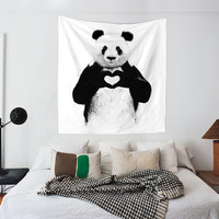 Large Size Cloth Art Wall Hanging Tapestry Picnic Mats Curtain Bed Sheets 7 Models Panda Bear Lion Poetry Wall Background Decor