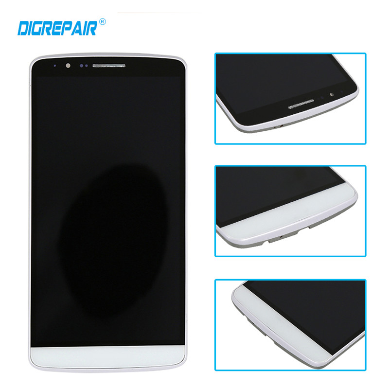 White Golden Grey For LG G3 D855 D850 LCD Display Touch Screen Digitizer Full Assembly Replacement+Bezel Frame,Free Shipping