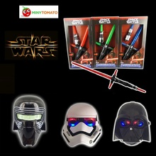 Buy online Star Wars Telescopic 2pcs Lightsaber and 3pcs Masks with Light Sound Led Cospay Saber Birthday Halloween Party Toys for Children