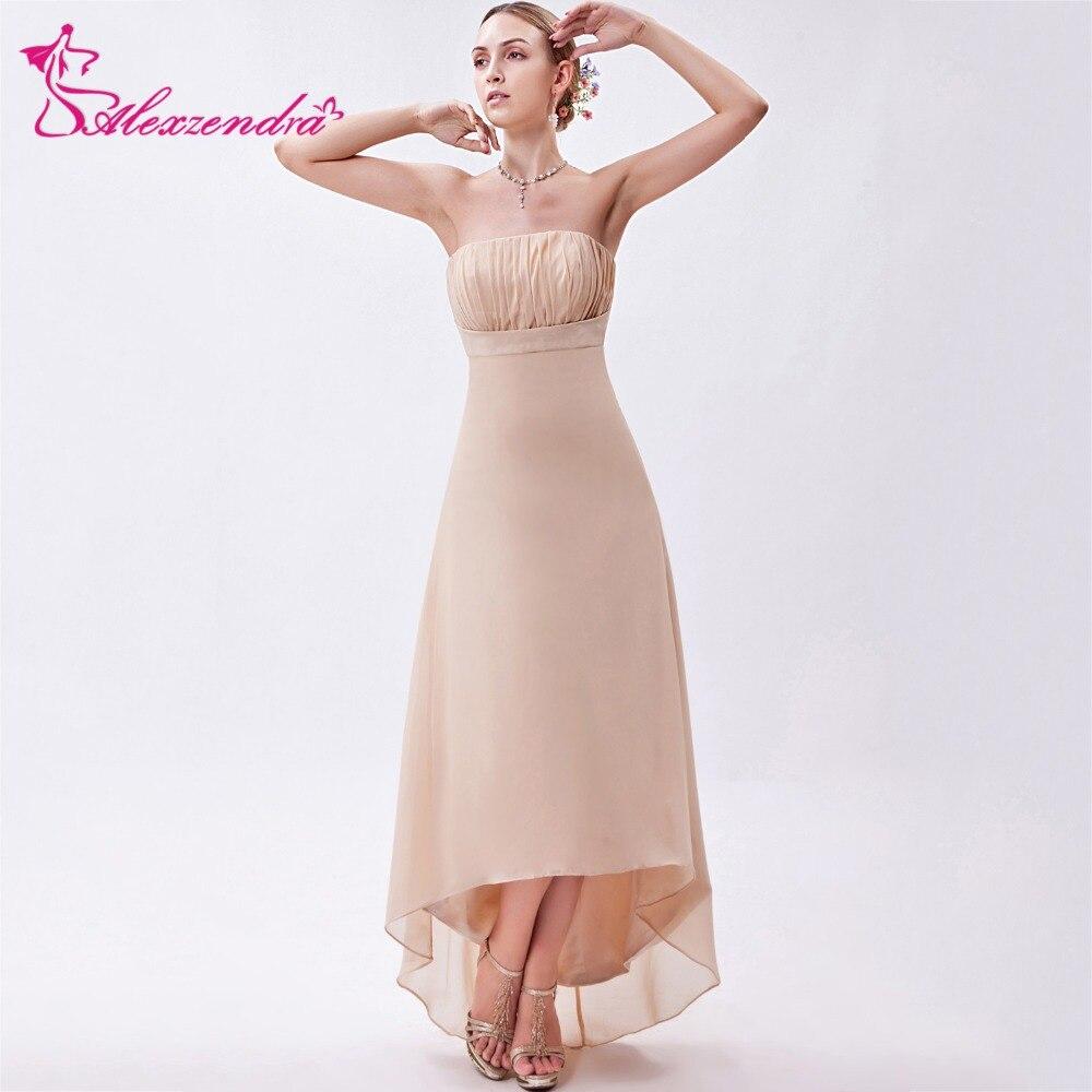 Alexzendra Champagne Simple A Line Tea Length Strapless   Prom     Dresses   2018 Party   Dresses   Plus Size