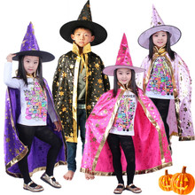 children halloween costumes for teens Witch Wizard Cloak+Hat Cap Stars capes boy girls anime cosplay carnival get collectively costume 2pcs
