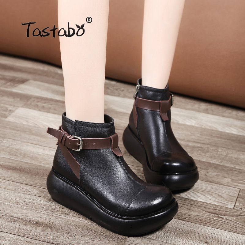 Tastabo Boots Women Autumn Genuine Leather Ankle Boots for Women Soft Martin Wedges Platform Shoes Ladies