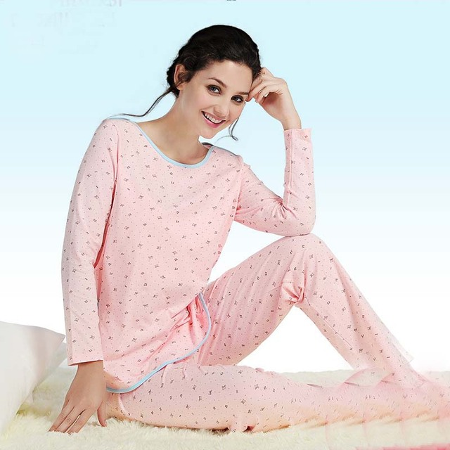 Winter and Autumn Women Big Size Long Sleeve Pregnant Clothes Maternity Sleepwear Cotton Maternal Nursing Breastfeeding Pajamas