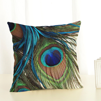 iFinder-Peacock Cushion Cover Linen Cushion Case Chair Sofa  Throw Pillow Cover 45x45cm
