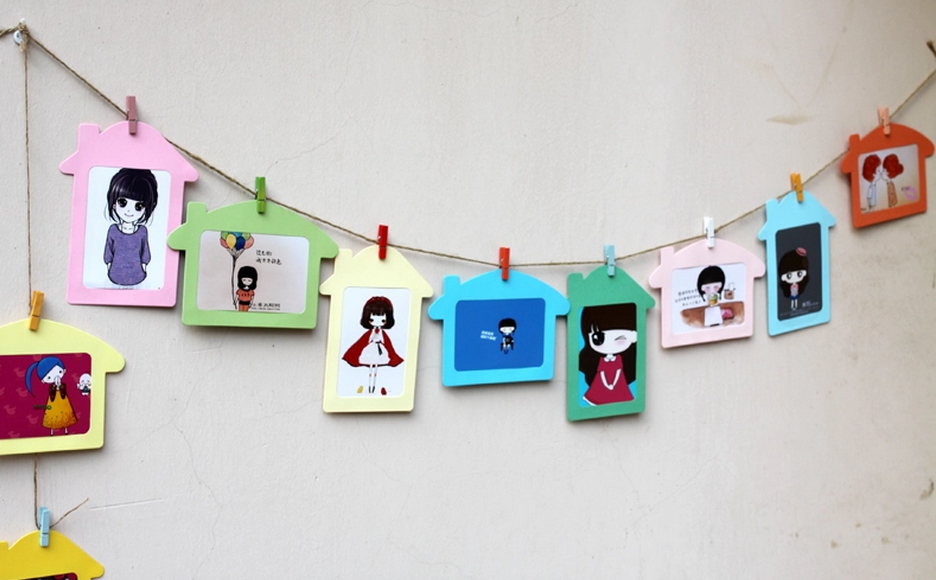 hostelling 5 diy hanging photo frame house shape colorful picture frames 10pcsset 50pcslot in frame from home garden on aliexpresscom alibaba group - Diy Cardboard Picture Frame