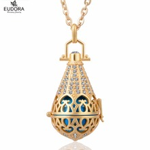 Water Drop Glod Plated 18mm Crystals Harmony Bola Ball Pendant fit  Angel Caller Chime Ball Mexican Bola Pregnant Women Jewelry