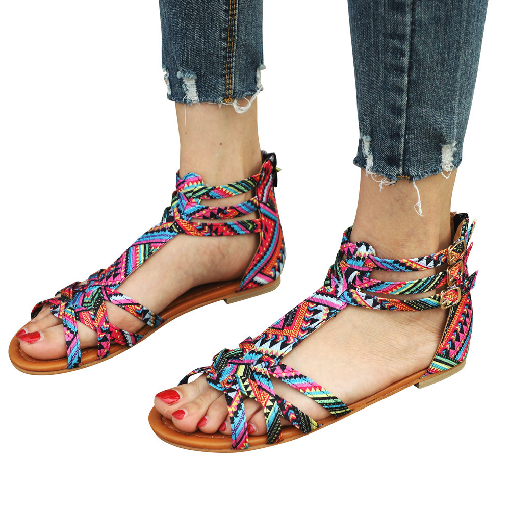 Ethnic Style Sandals Flats Sandals Ankle T-strap Fashion Trend Sandals Bohemia Nation Flat Beaded Sandals Shoes Women timetang flat sandals t strap fashion trend sandals bohemia national flat heel beaded female shoes sale women shoes