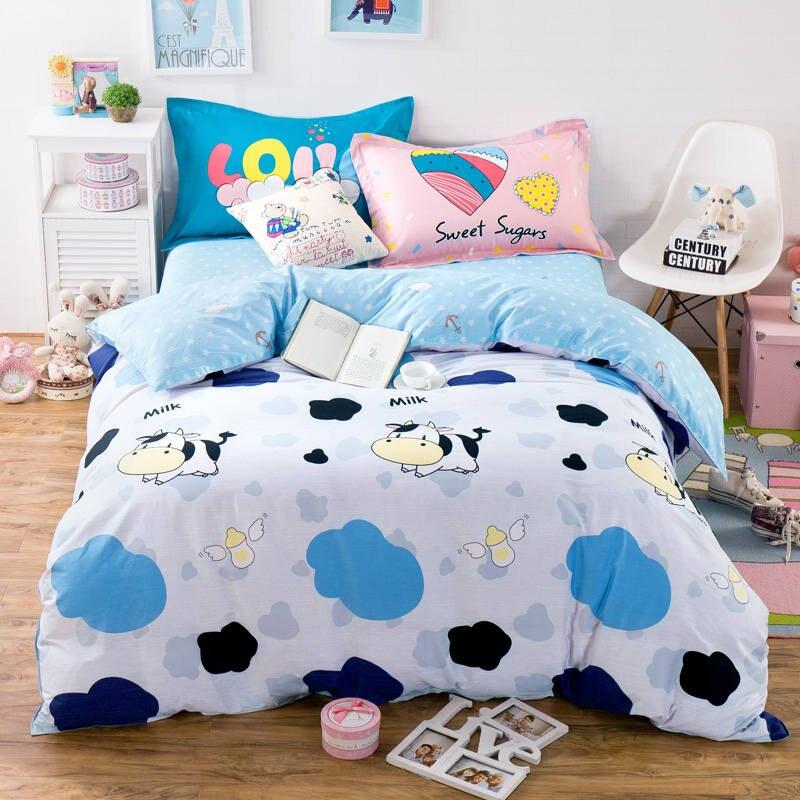 Fresh Cartoon Cow Cloud Blue Bedding Sets Duvet Cover 100% Cotton Queen Full 4/5PC Dot Fish Bedsheet Pillowcase Kids/Girls 400TC