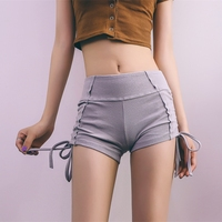 Summer 2018 Women   Shorts   Casual Sexy Drawstring Lace-Up Sides Knitted High Waist   Shorts   Female