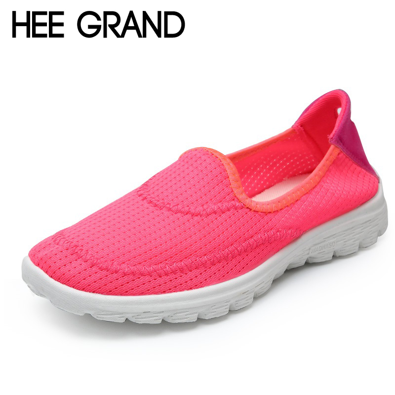 Hee Grand 2018 Comfort Casual Woman Shoes Convenient Breathable Mesh Flats Slip On Woman Loafers Creepers Casual Shoes XWC1299 hee grand camouflage creepers 2017 lace up platform shoes woman wedges loafers slip on flats casual fahsion woman shoes xwd6038