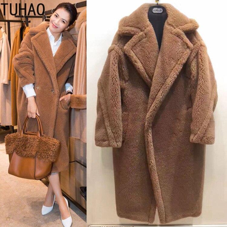 TUHAO 2018 runway Inverno projeto quente grossa pele de cordeiro casaco comprido para as mulheres urso de pelúcia pele de cordeiro jaqueta outwear solto casaco de pele longo