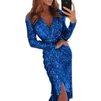 New European And American Ladies Sexy Dress With Sequined Long Sleeve V neck Shiny Glitter Dress Cosplay Long Dresses