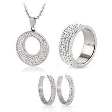 Joyería caliente del acero inoxidable de la joyería CZ Crystal esmalte pendiente del collar del anillo de la joyería nupcial Set elegir tamaño de anillo