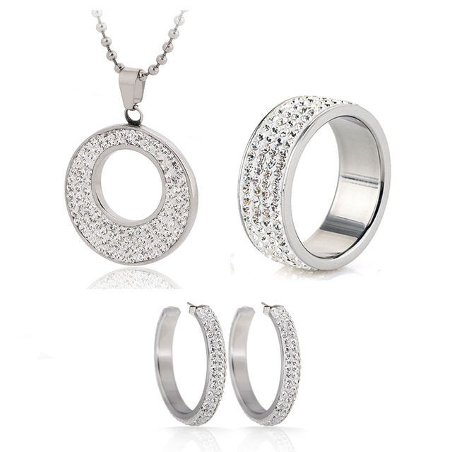 Hot Sale Jewelry Set  Stainless Steel Jewelry CZ Crystal Enamel Earring Necklace Ring Bridal Jewelry Set Choose Size of Ring
