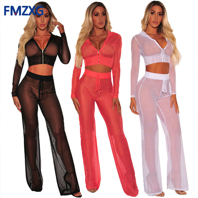 8c087ab249bb3 2018 Sexy Transparent Long Sleeve Hoodie Top Summer Rompers Womens Loose  Jumpsuit Mesh Overalls Workout 2 Piece Pants Suit XXXL