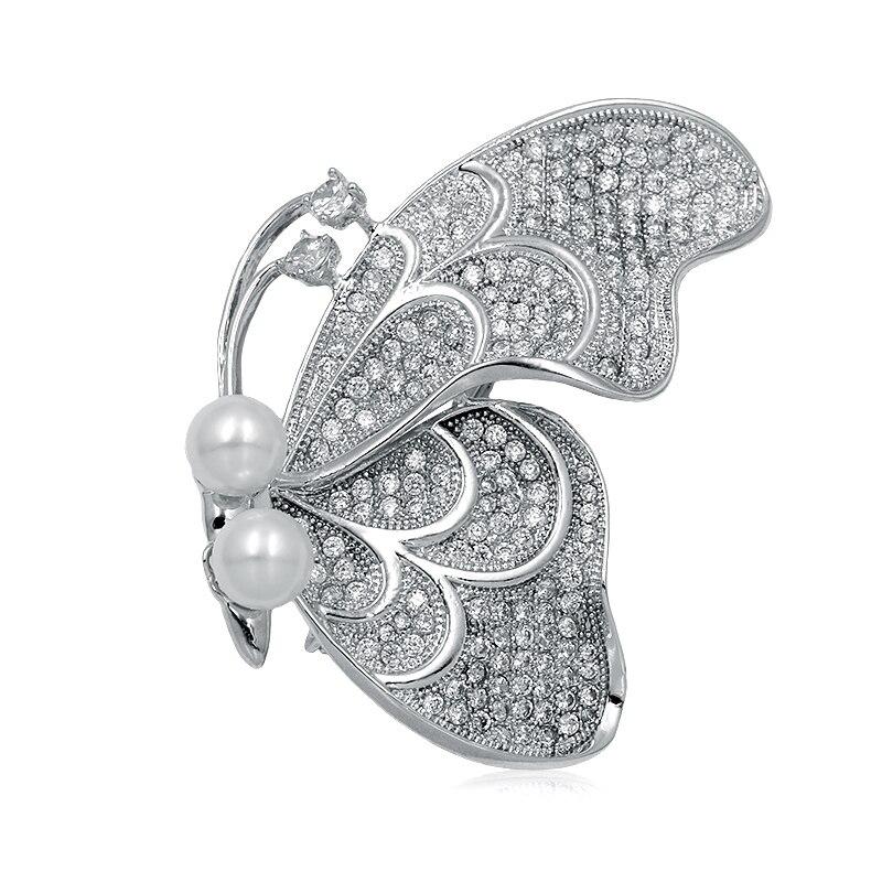 WEIMANJINGDIAN Haute Qualité Cubique Zircone Papillon Broches pour les Femmes ou De Mariage en Argent ou Or Couleurs