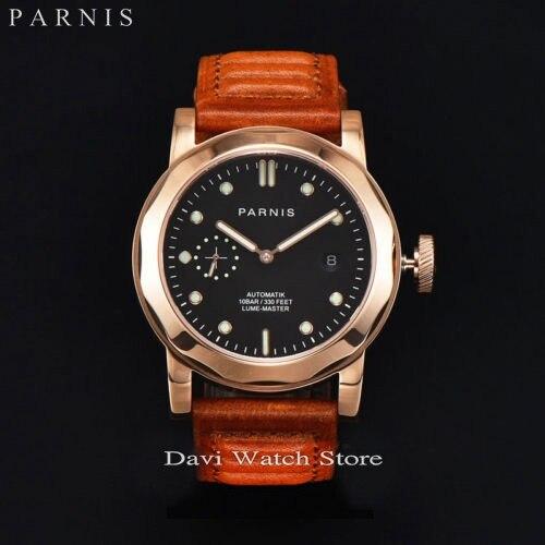 44 ملليمتر PARNIS الأسود الهاتفي روز الذهب الصلب الياقوت التلقائي تاريخ الرجال ووتش-في الساعات الميكانيكية من ساعات اليد على  مجموعة 1