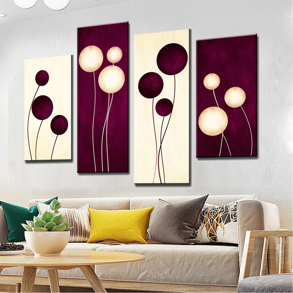 Purple Bowls Wine Bottels Modern Canvas Painting Wall Art: 4 Pcs/Set Abstract Wall Art Simple Purple White Circles