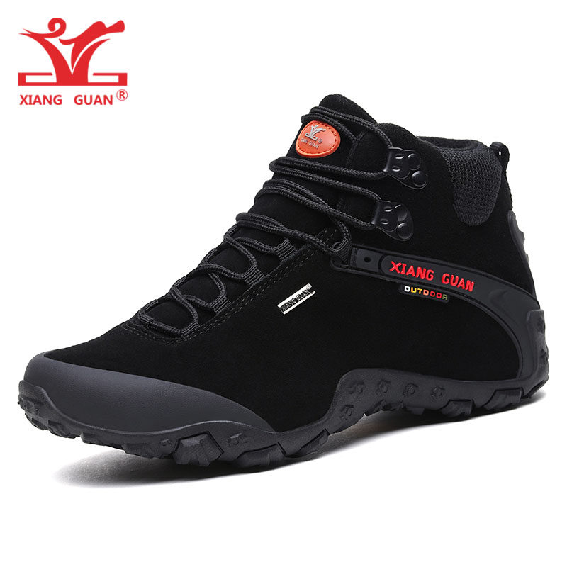 XIANG GUAN Man Cow Suede Hiking Shoes Men Waterproof Trekking Boots Medium Cut Black Sport Climbing Shoe Outdoor Walking Sneaker цена