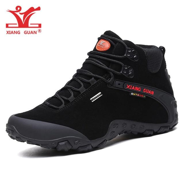 XIANG GUAN Man Cow Suede Hiking Shoes Men Waterproof Trekking Boots Medium Cut Black Sport Climbing Shoe Outdoor Walking Sneaker