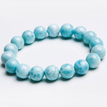 11mm Natural Blue Larimar Bracelet Gemstone Round Beads From Dominica Stretch AAAAAA цена в Москве и Питере