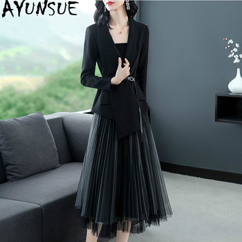 2020 Spring Women Elegant Formal Office Dress Lady Style Suit Jacket Tops + Mesh Skirt Casual Two Piece Set Women Clothes ZT1978