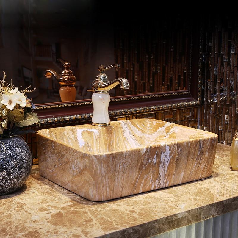 Re dello stile Cinese di lavaggio a mano bacino in Jingdezhen, Lavabo Taiwan, bagno classico imitazione di pietra decorativa bacino di arte