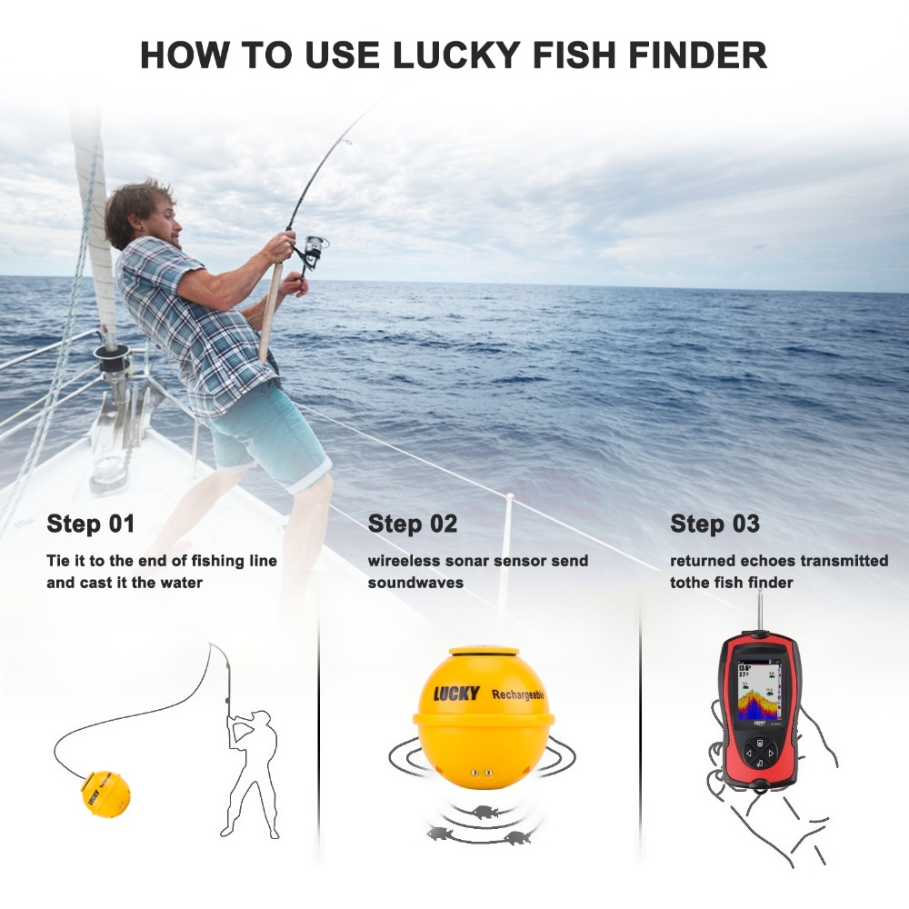 FF1108-1CWLA Rechargeable Findfish Wireless Remote Sonar Sensor 45M Water Depth High Definition LCD FishFinder Fish Finder Pesca (12)