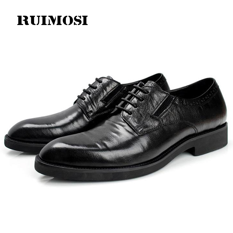 RUIMOSI Luxury Formal Man Platform Bridal Dress Shoes Genuine Leather Wedding Oxfords Brand Famous Derby Men's Footwear WD19