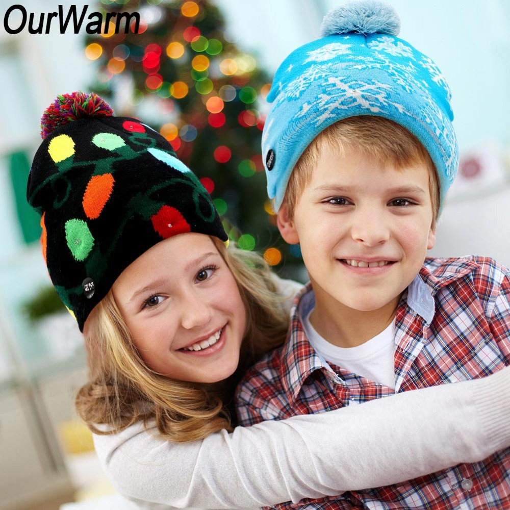 OurWarm 2018 New LED Knitted Christmas Hat Kids Adults Warm Hat New Year Christmas Decoration Party Tree Snowflake Hat