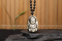christmas Chinese Natural Gold Black Obsidian Hand Carved Baby Buddha Auspicious Pendant halloween