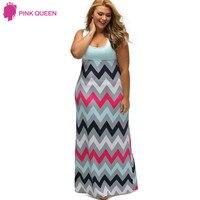 Pink Queen Womens Light Blue Top Multicolor Zigzag Strip Print Maxi Dress Summer 2017 Sleeveless Vestidos