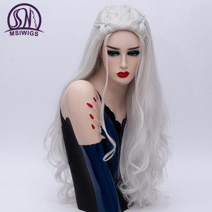 Image 2 - MSIWIGS 2 Colors Long Silver White Curly Wigs Cosplay Synthetic Blonde Braided Wig for Women Natural Braid Hair Heat Resistant