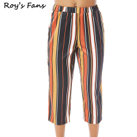 Roy S Fans Women Autumn Winter High Waist Wide Leg Casual Striped Pants Trousers Fashion Female