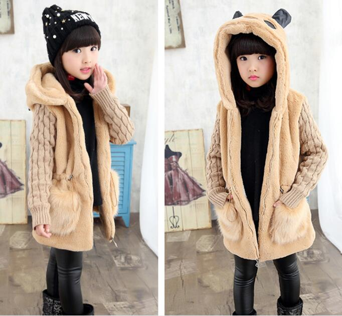 2017 Winter Girls coat faux fur Jackets children Clothing girls Clothes thicken girls outerwear jacket Warm 4 6 8 10 12 Years children real crystal fox fur coat 2017 new autumn winter girls boys natural fur coat clothing warm kids thicken jacket