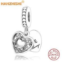 Подходит для оригинальных шармов Pandora браслет 925 пробы Подвески-талисманы в виде серебряного сердца любовь сердце моя жена всегда со стразами кулон бусины