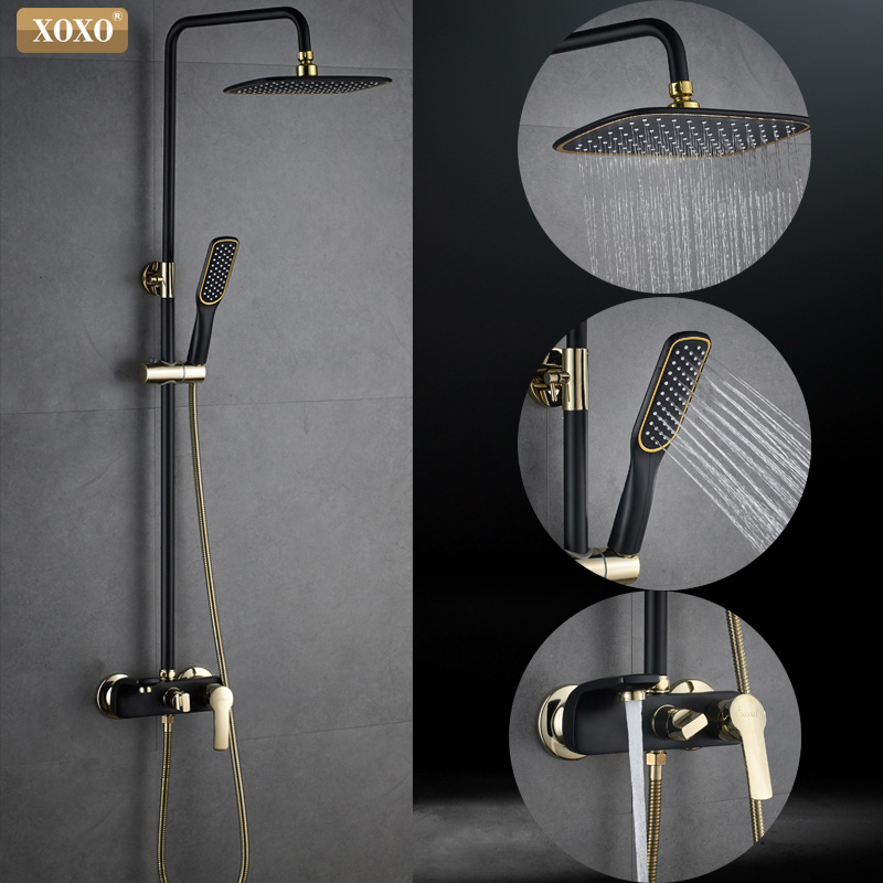 XOXO noir plaqué or cuivre bain douche robinet salle de bains froid et chaud douche robinet ensemble douche mélangeur ajuster la hauteur 21050 H