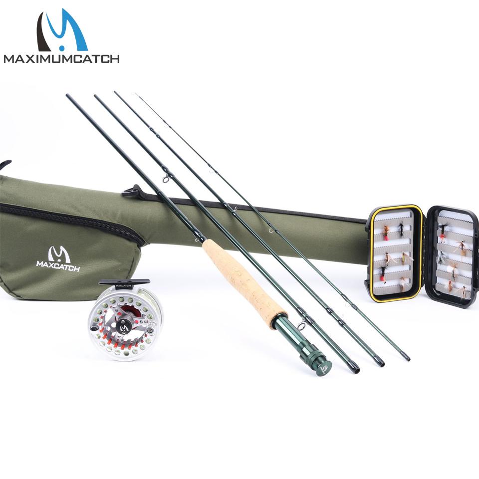 Prix pour Maximumcatch 5wt mouche combo de pêche 9ft moyen-rapide canne à mouche pré-bobiné moulinet 5f fly ligne avec cordura triangle tube