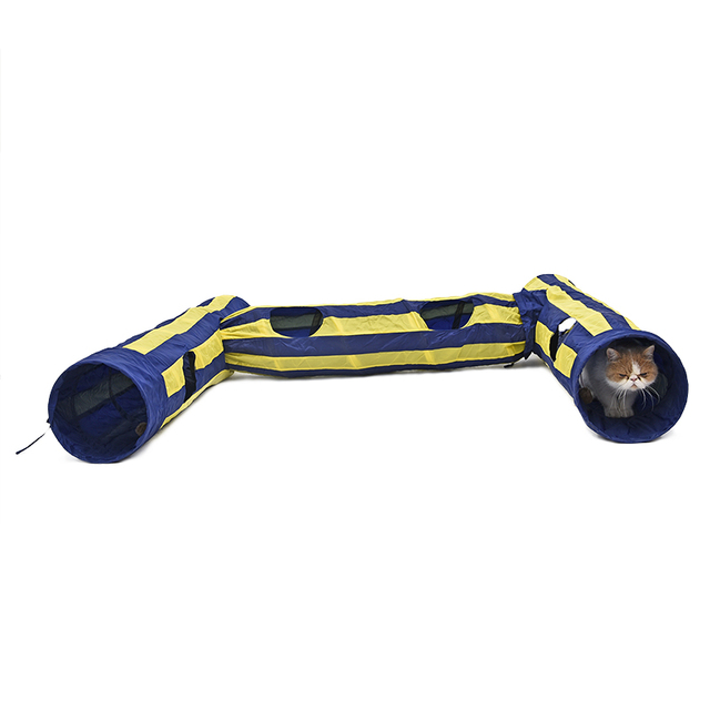 Free Shipping Pet Shop Pet Supplies Cat Toys Blue and Beige Cat Tunnel with Two Ball  Pet Toy More Fun and More Choice