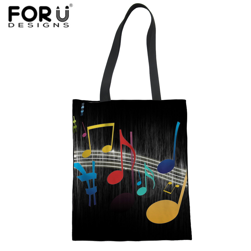 FORUDESIGNS Womens School Bags Cartoon Music Pattern Large Crossbody Bags 3D Printing Shoulder Bag Fashion Casual Schoolbag