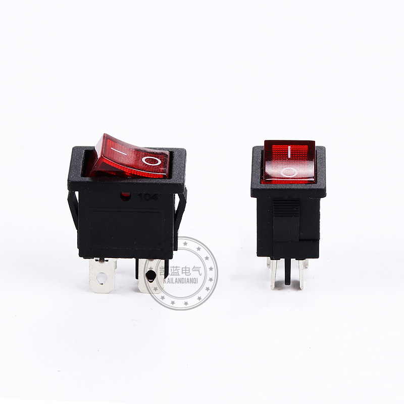 4pcs Sc073 Red/green Led Button Switch Kcd1-104n 4 Pin 2 Gear Rocker Switch 6a 250v Vde Copper Pin Sell At A Loss Switches