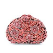 Frauen Einzigartige Luxus Kristall Diamant Strass Abendtasche Handwerk Kupplung Geldbörse Party Prom Handtaschen Blume Jäten bankett Tasche