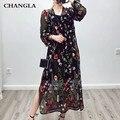 CHANGLA Вышивка Лето Dress Женщины Винтаж Прозрачный Mesh Бальные Платья V Шеи Сплит Бахромой Sexy Dress Vestidos Де Феста