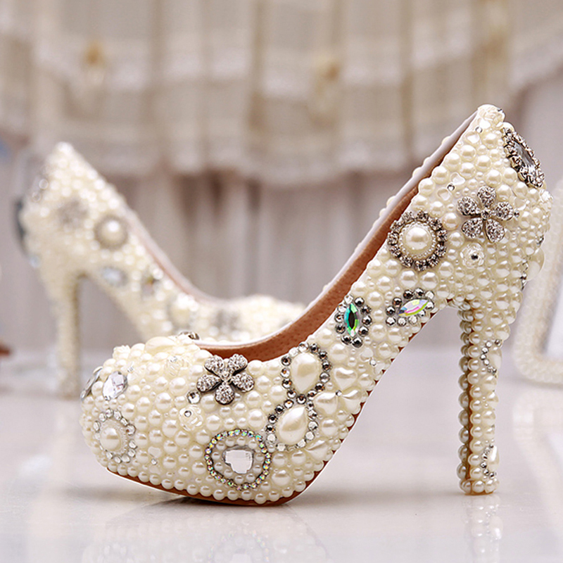 Elegant Ivory Pearl Party Prom Shoes Sparkling Wedding Bridal Shoes Romantic Bridal Dress Shoes Pumps Free Shipping new arrival white wedding shoes pearl lace bridal bridesmaid shoes high heels shoes dance shoes women pumps free shipping party